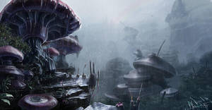 land of the giganto mushrooms by jameswolf