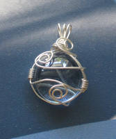 Blue Wire Wrapped Pendant 2 by lalalura