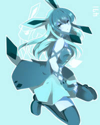 Human Glaceon and her Characteristic Blue Skin by AlexArgentin