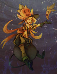 Witch Pinup - Rabbit Witch by ben-ben