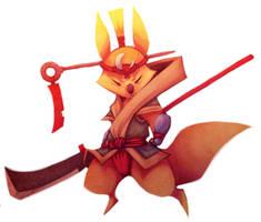 Digital Practice - Kitsune Guard by ben-ben