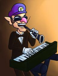 Waluigi Playing Both the Piano and Clarinet by SirMadameTheKnight