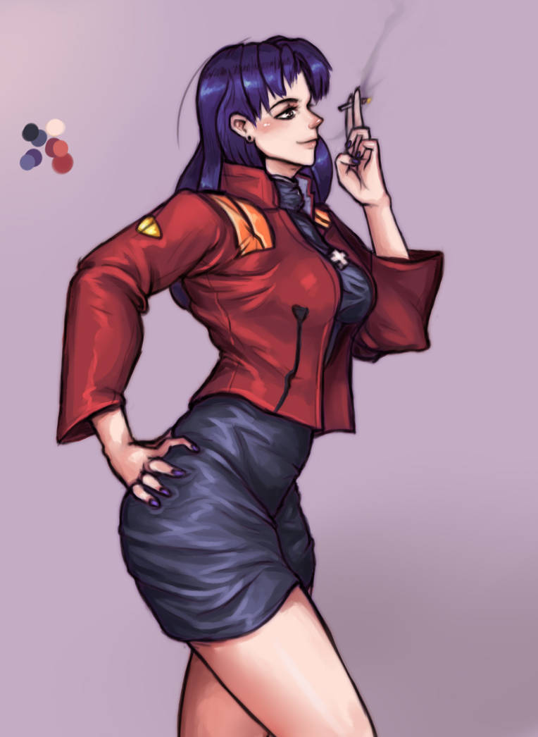 Misato's Smoke Break by RoyaleMay