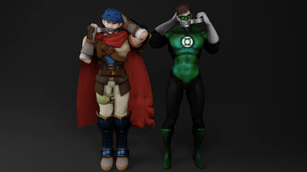 Green Lantern and Ike Self Gagging by TheBlenderTaper