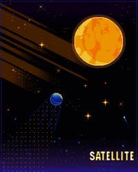 Pixel satellite poster by Forheksed