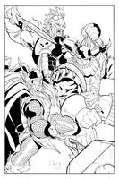 Marvel Thor, Ares versus Kurse by victoroil