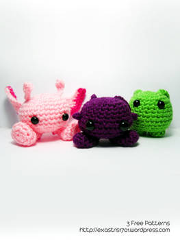 Purploids, Pinkloids, Bloops - 3 Free Patterns by ex-astris1701