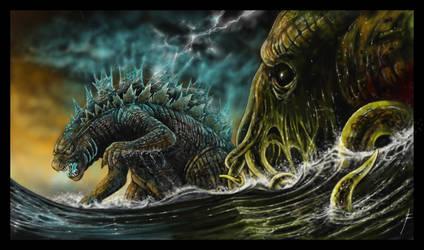 Cthulhu V Godzilla by fiend-upon-my-back