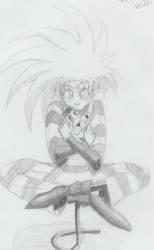 Ryoko cuddling chibi Tenchi by Jadzia21