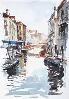 Venice-Canal-with-Barges-by-tony-belobrajdic by artiscon