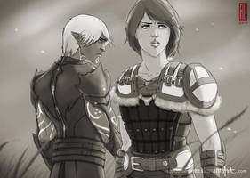 Prize art: Fenris and Helena by rooster82