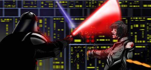 Luke vs Vader by mikebloodslaver
