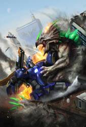 Robot vs Dino - by DanLuVisiArt