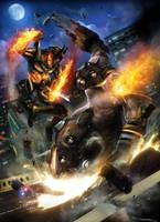 Fire God vs Mole Man - by DanLuVisiArt