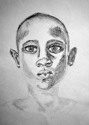 africa child pencil bw by ellymarinova