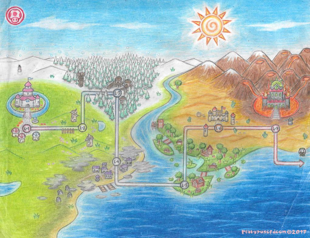 Mushroom World Map.Super Mario Mushroom Kingdom Map Www Topsimages Com