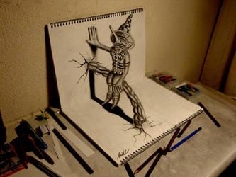 3D Drawing - Residents on the sketchbook by NAGAIHIDEYUKI