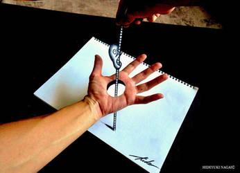Climb stick penetrating the palm of the hand by NAGAIHIDEYUKI