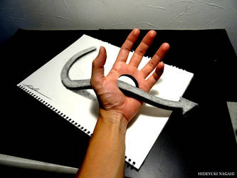 Arrow through the palm of your hand - Trick Art by NAGAIHIDEYUKI