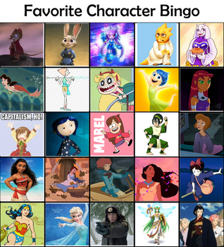 Favorite Character Bingo Except they're all Female by AndyofIndiana