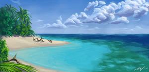 Island Paradise Sketch by Ferain