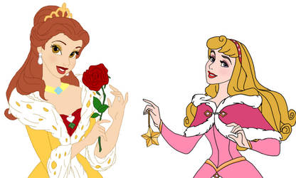 Disney Christmas Princess Aurora and Belle by unicornsmile