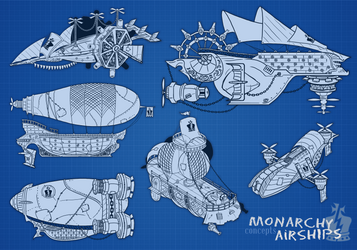 Airship designs by DavyWagnarok