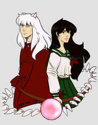 Inu Yasha and Kagome by TheLittleArtist