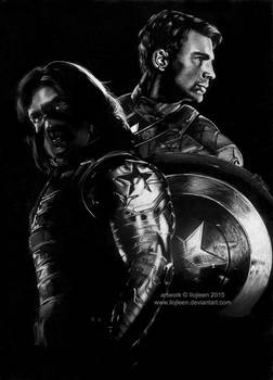 Winter Soldier and Captain America by Ilojleen