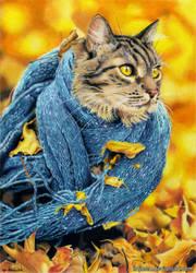 Kitty in a scarf by Ilojleen