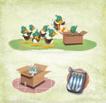 Ducks, a cat and sardines by alexmax