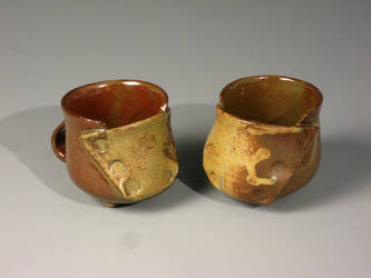 Buttoned Mugs-Red and Green by sbielaczyc