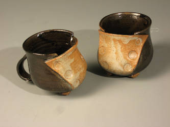 Buttoned Mugs-Orange and Black by sbielaczyc