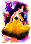 Sailor moon-human Luna- star studded sky by La-h-i-n-a-y-u-m-e