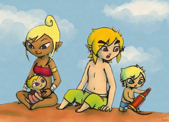Link's Family at the Beach by BeagleTsuin