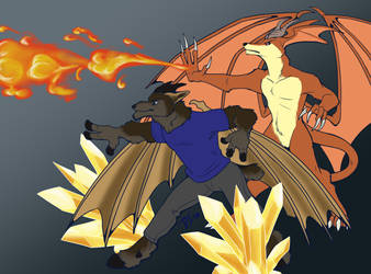 COMMISSION - Elemental Battle by DragonessDeanna