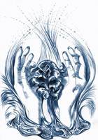 rose and hands water blue by RAY-N-BOW