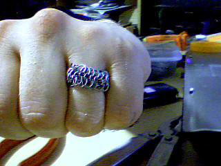 Silver Chain Maille Ring by LordDameonDark
