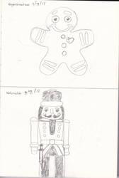 Gingerbread Man and a Nutcracker by animaniac21285