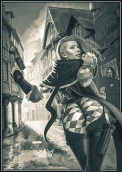 assassin bw by Deathfeniks