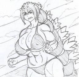 Gojira-tan at the beach by Brian12