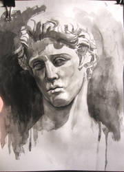 Ink wash study of a marble cast by MaxyChi