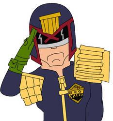 Judge Dredd Saluting by alienhominid2000