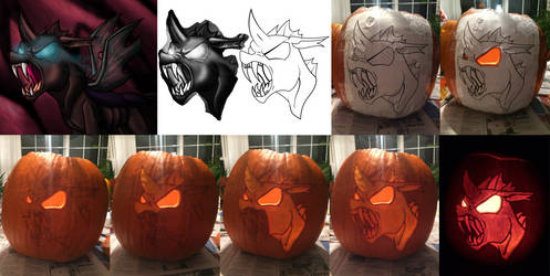 Angry Changeling Pumpkin Carving [Process Work] by Warhorse26