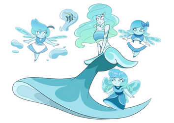 Mermaid Kyanite and her Aquamarines by GatlingPea32
