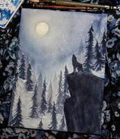Blue Moon Watercolor by teatimetomorrow