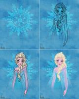 Disney's FROZEN - Queen Elsa Colour Sketch WIP by davidkawena