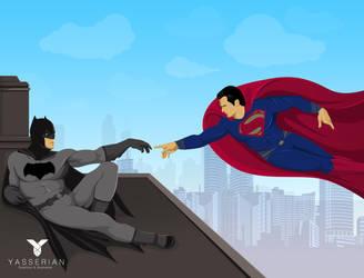 Superman and Batman Michelangelo Style by yasserian