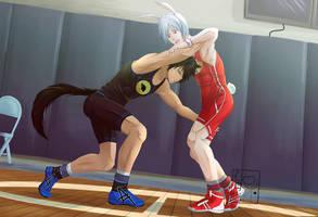High School Wrestling: Bunny vs Wolf by MikadoSora1