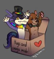 Hugs and snugs inside by lizathehedgehog